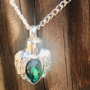 Jewelry - Heart with wings necklace cremation ashes necklace